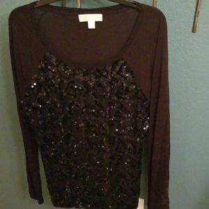 Michael Kors sequin front long sleeve t shirt